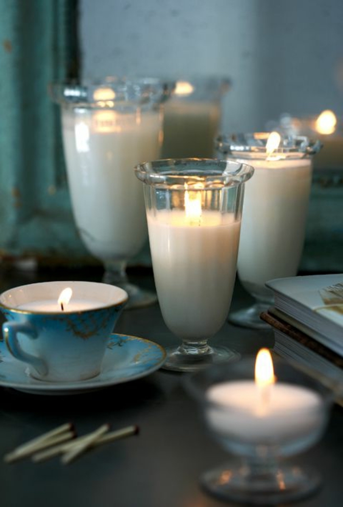 how to make candle wax, milkshake glasses, filled with candle wax, blue vintage tea cup