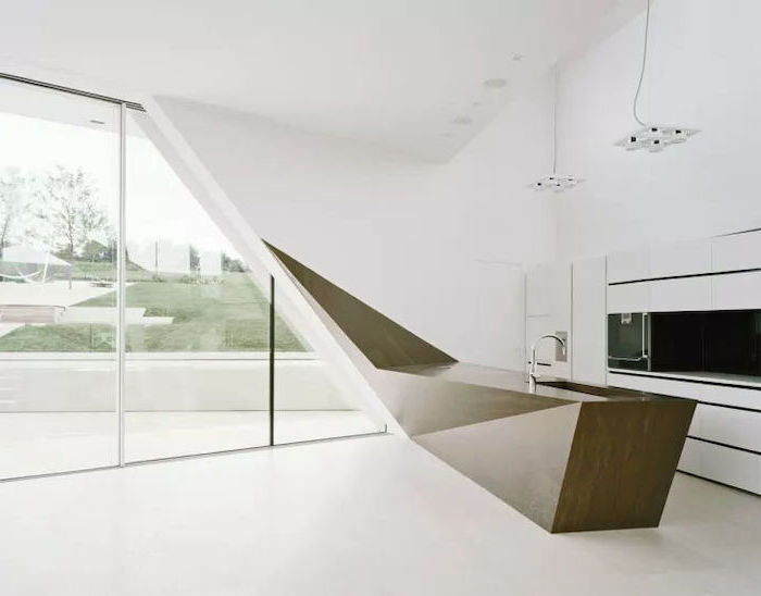 geometric kitchen island, tall windows, white cabinets, pictures of kitchen islands, white floor