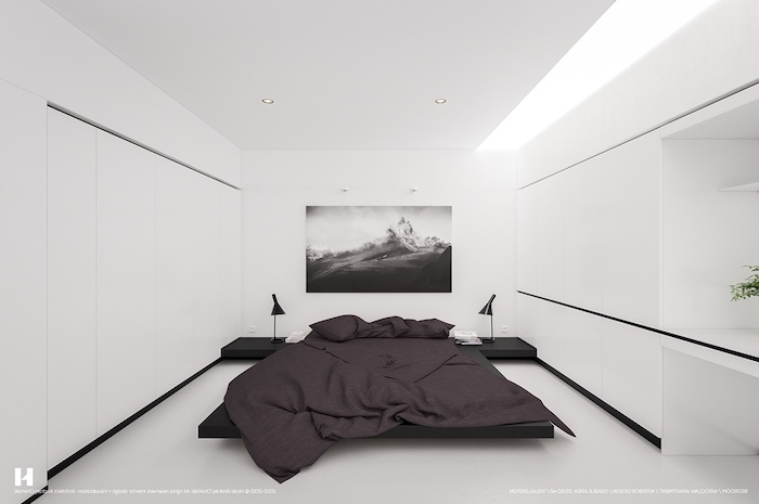purple bed linen, minimalist style, how to decorate a bedroom, white walls, black floating bed frame