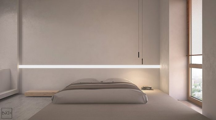 grey walls, led lights, grey wooden bed frame, wooden shelf, over the bed decor