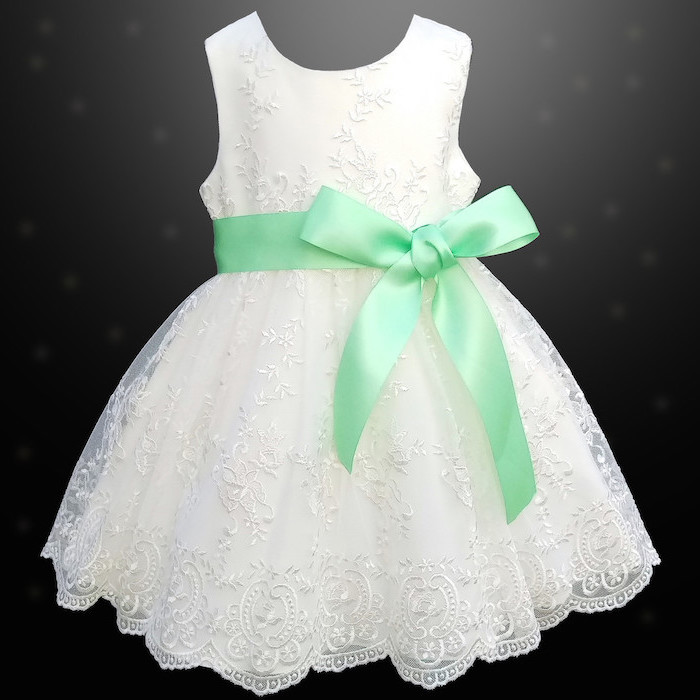 white lace dress, mint green bow, lace flower girl dresses, black background
