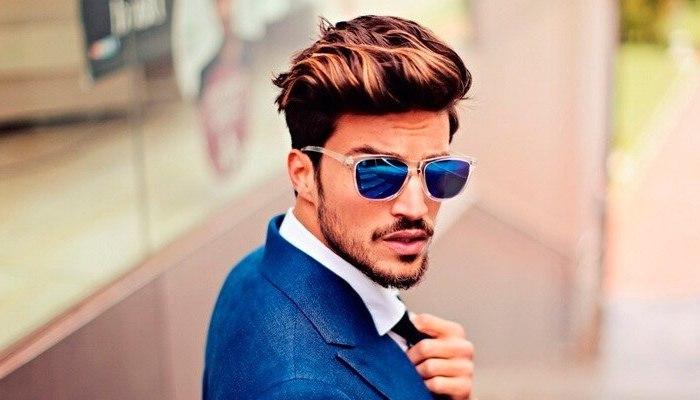 blue jacket, brown hair, medium hairstyles for men, white shirt, black tie, man wearing sunglasses