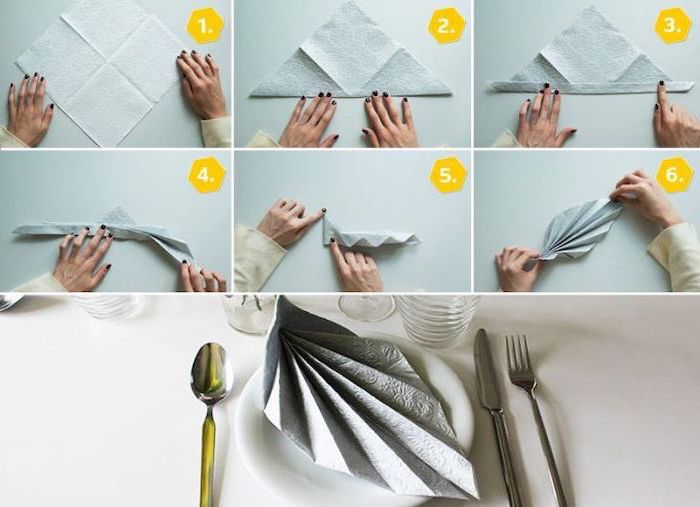 fan shaped, grey napkin, how to fold cloth napkins, diy tutorial, step by step