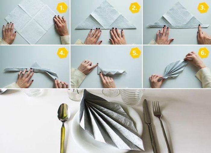 fan shaped, grey napkin, how to fold cloth napkins, diy tutorial, step by step