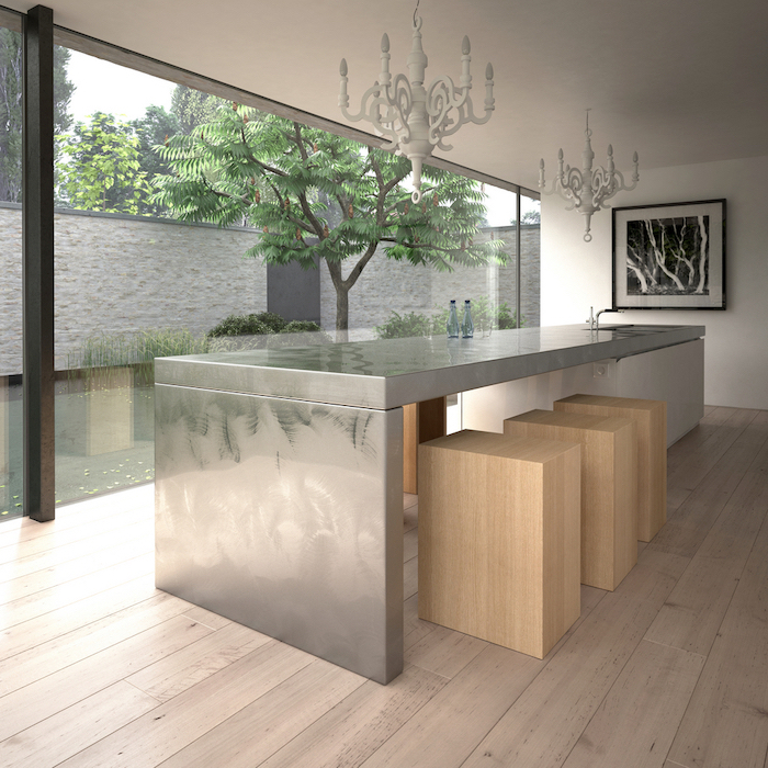 wooden floor, metal kitchen island, wooden block chairs, kitchen island cabinets, large windows