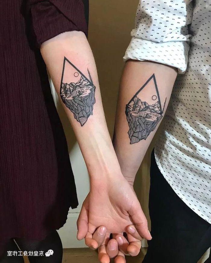 nature landscape, geometrical forearm tattoo, husband and wife tattoos, holiding hands
