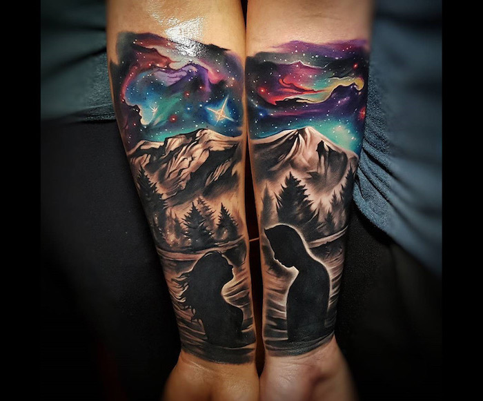 nature landscape, man and woman, starry sky, boyfriend and girlfriend tattoos, forearm tattoos