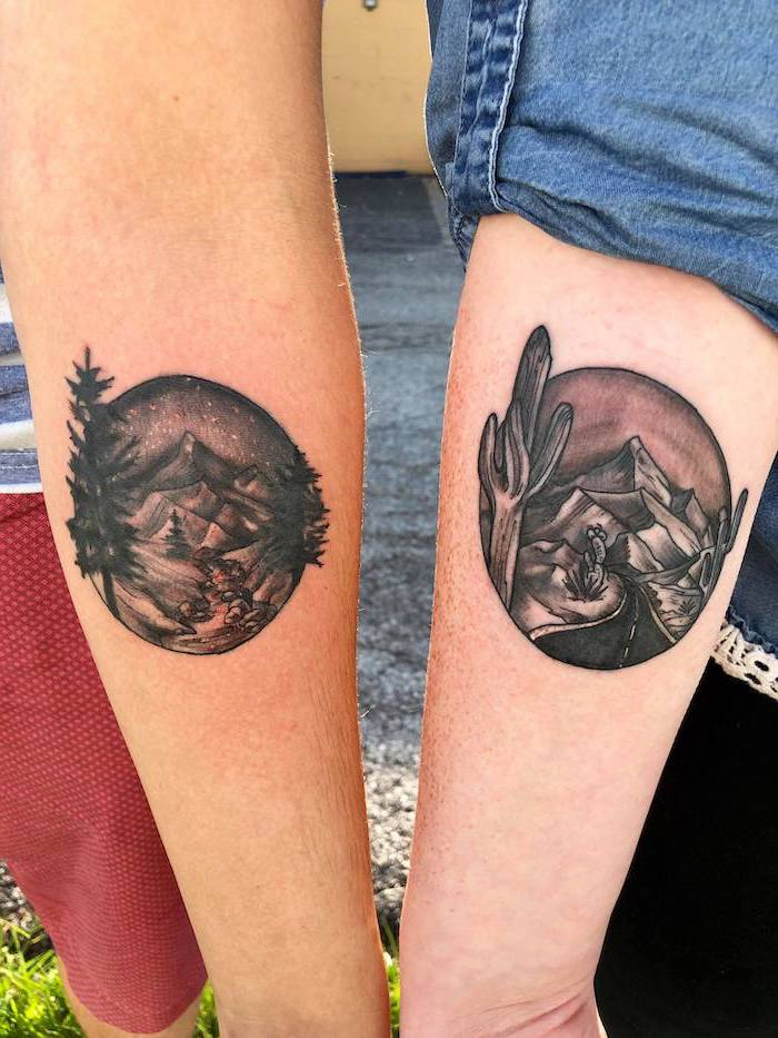 boyfriend and girlfriend tattoos, nature landscape, back of arm tattoos