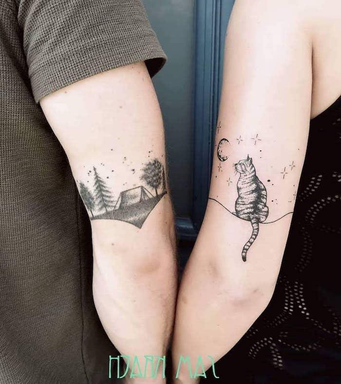 nature landscape, sitting cat, back of arm tattoos, boyfriend and girlfriend tattoos