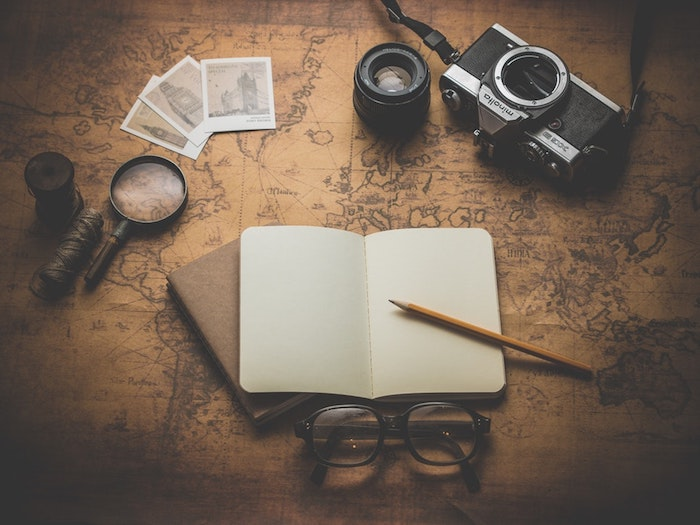 black background tumblr, white notebook, vintage map, vintage photo camera, magnifying glass