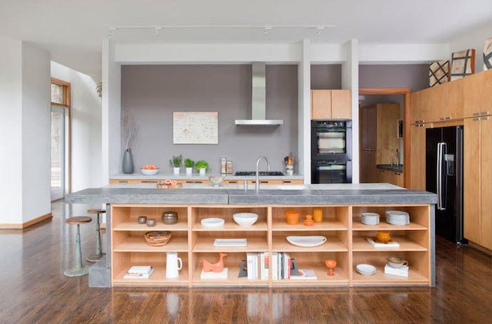 granite countertops, kitchen island decor, open shelving, wooden bar stools, grey backsplash, wooden floor