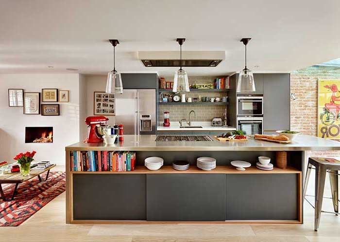 metal countertop, kitchen island decor, wooden floor, open shelving, metal bar stools, hanging lamps