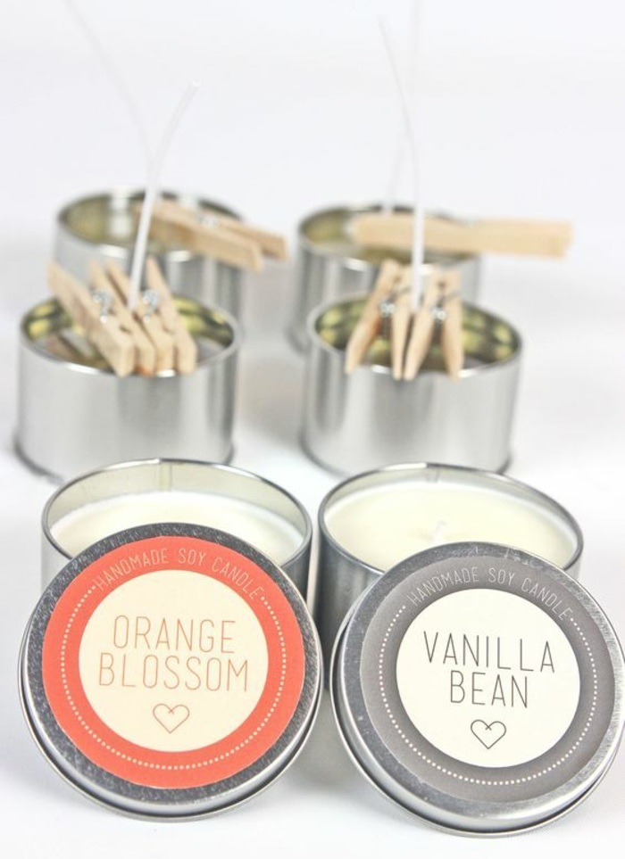 orange blossom, vanilla bean, how to make candle wax, tin boxes, filled with candle wax