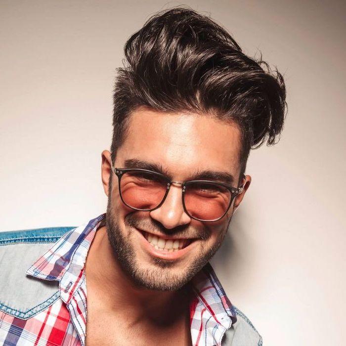 man smiling, wearing sunglasses, black hair, plaid shirt, cool haircuts for boys