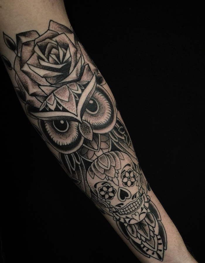 owl and rose, mandala skull underneath, tattoo ideas for guys, black background