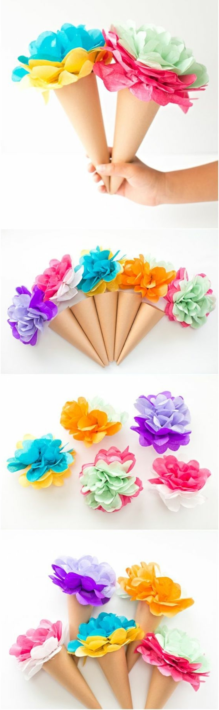 paper cones, indoor group games for kids, colourful flowers, made of paper