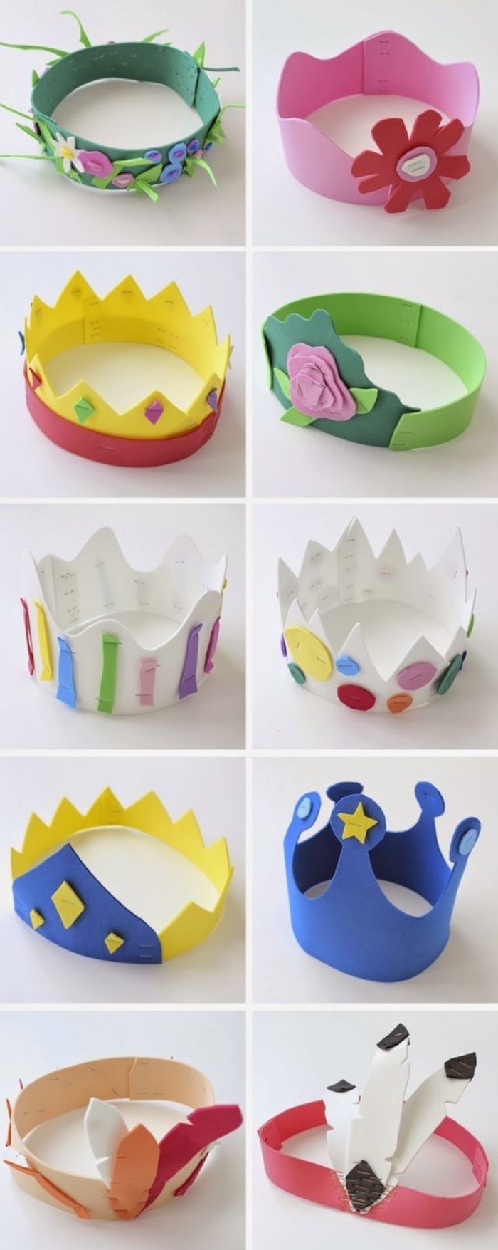 activities for 4 year olds, side by side photos, of different paper crown, for boys and girls