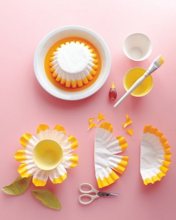 paper cupcake holders, painted yellow, activities for 4 year olds, paper sunflowers