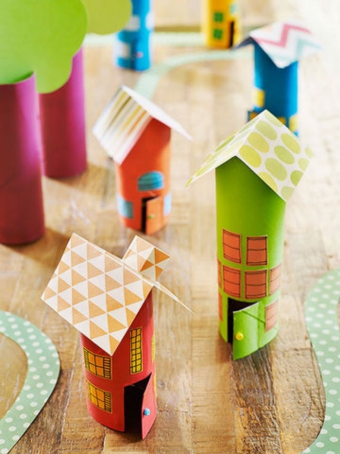 green and orange houses, made of cylindric paper, colourful paper roofs, pre k learning games