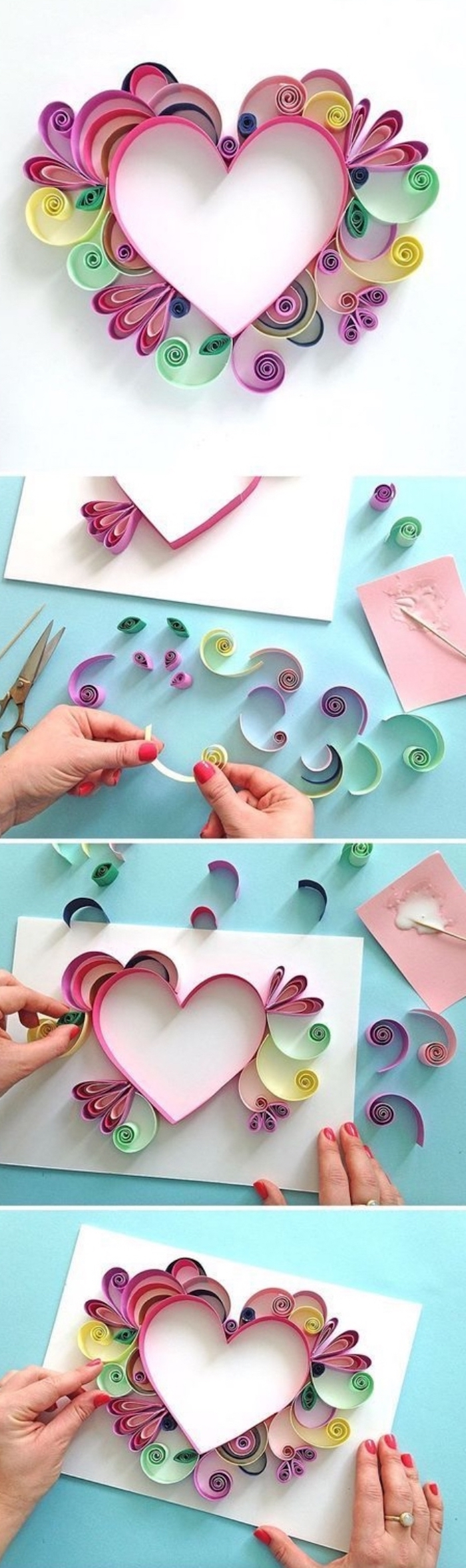 kindergarten classroom games, paper quilling, heart made of paper, on white paper, diy tutorial