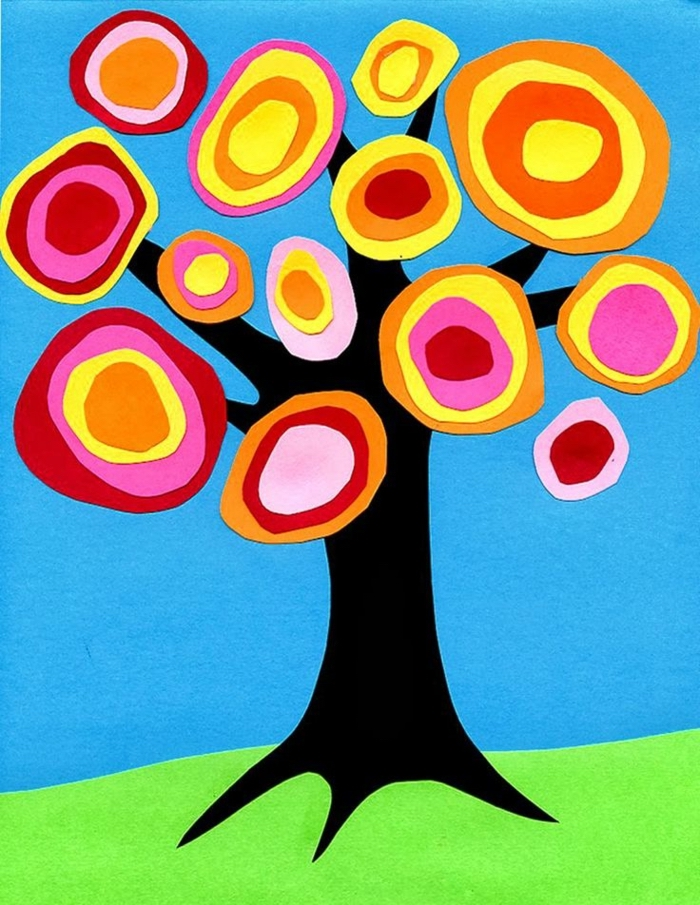 paper tree, blue and green background, kindergarten classroom games, colourful flowers