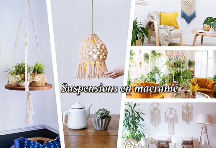 macrame wall hanging, photo collage, side by side photos, different macrame ideas