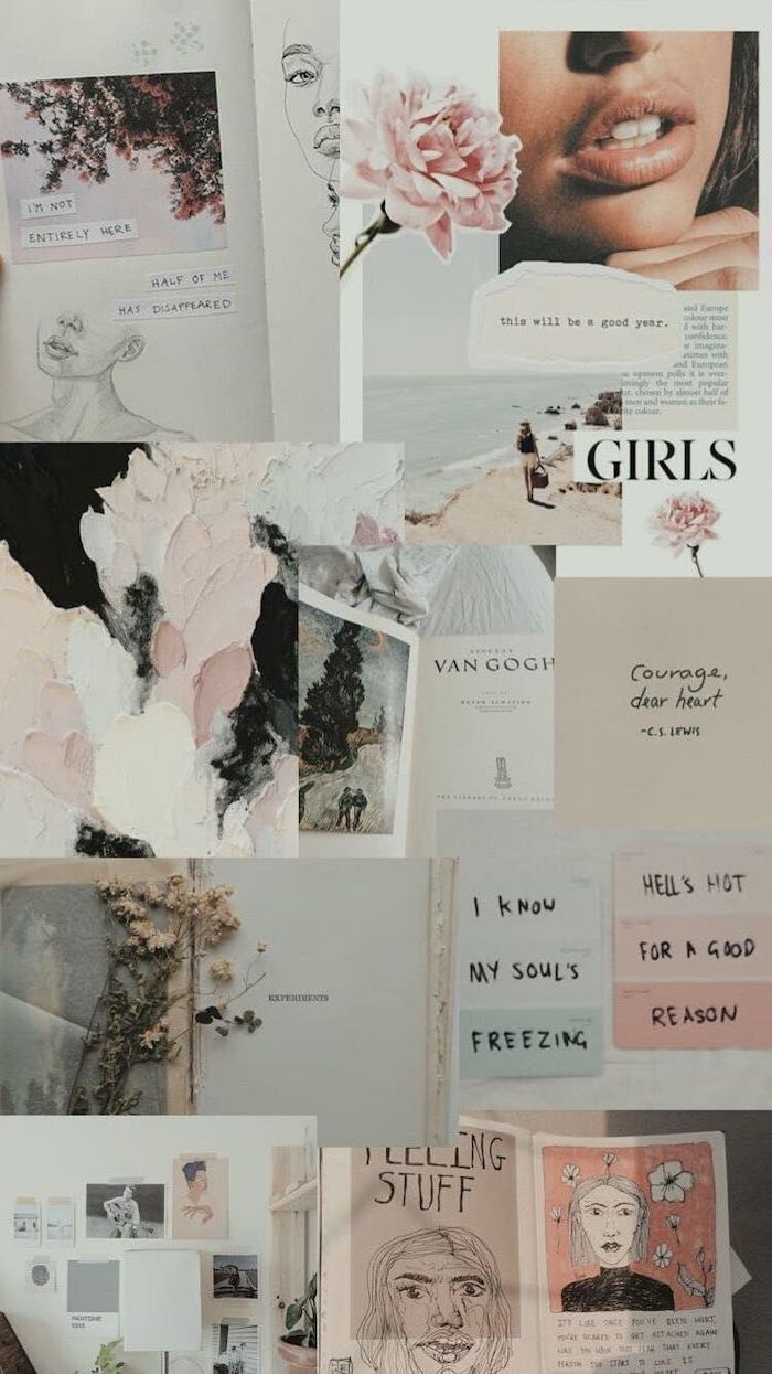 girly iphone wallpaper, vintage style, photo collage, motivational quotes