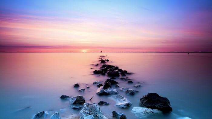 ocean landscape, rocks in the water, sun setting, black on white tumblr