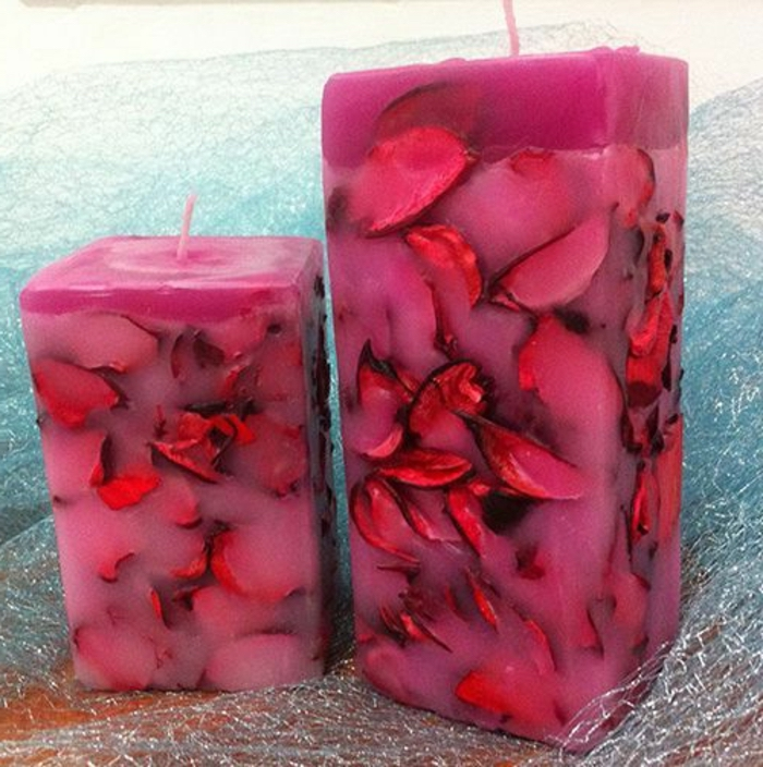 large square candles, rose petals inside, essential oil candles, pink candle wax