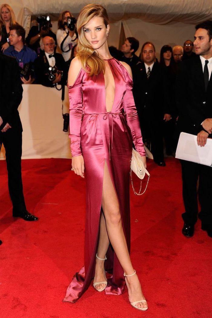 long hot pink dress, rosie huntigton whiteley, what is the met gala, long blonde hair, nude sandals