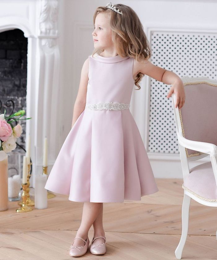 pink satin dress, white tiara, lace flower girl dresses, pink shoes, blonde wavy hair, wooden floor
