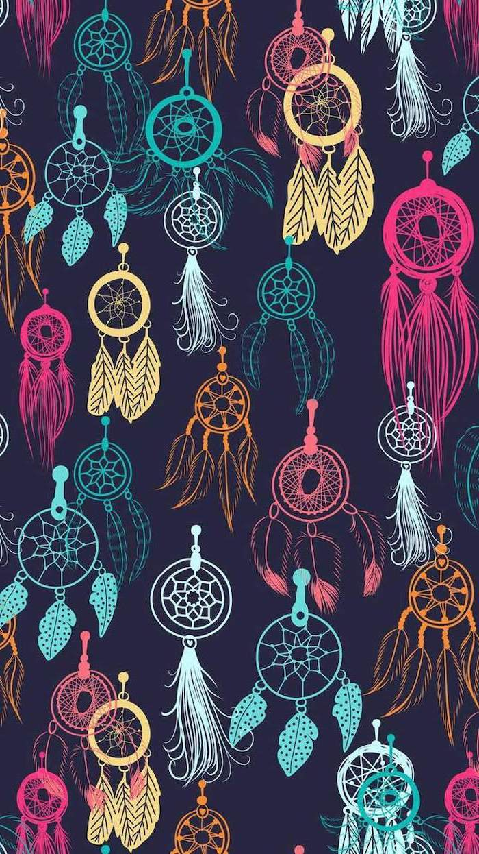 pink and yellow, blue and green dreamcatchers, on a black background, pretty iphone wallpaper