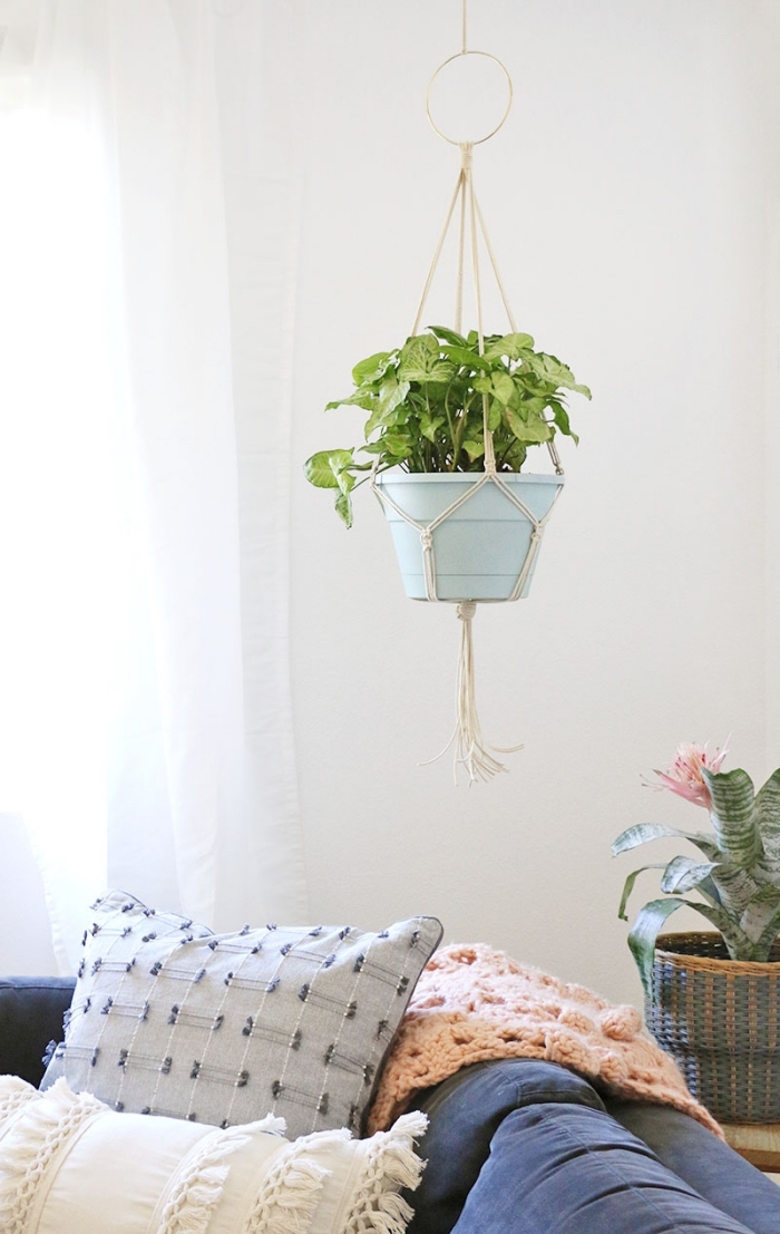 ceramic pot, how to make macrame, potted plant, blue velvet sofa, potted plants, plant hanger