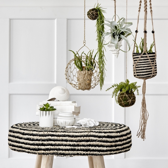 black and white table, plant hangers, potted plants, how to macrame, white wall