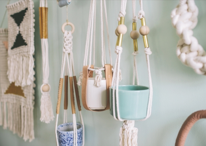 white and blue ceramic pots, how to make macrame, plant hangers, mint green wall