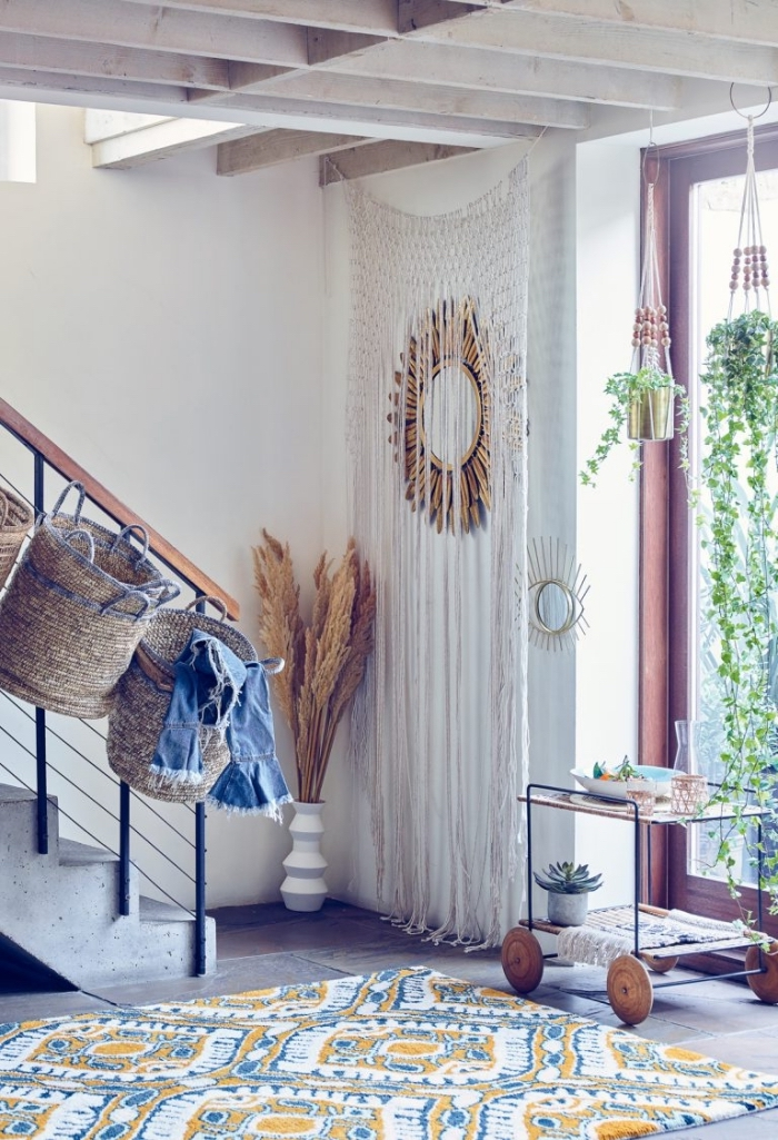 white wall, wooden basket, how to make macrame, printed rug, large window, potted plants