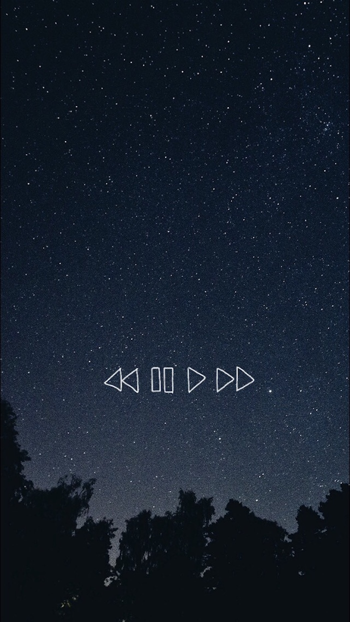 play pause and rewind, black on white tumblr, starry sky, black trees