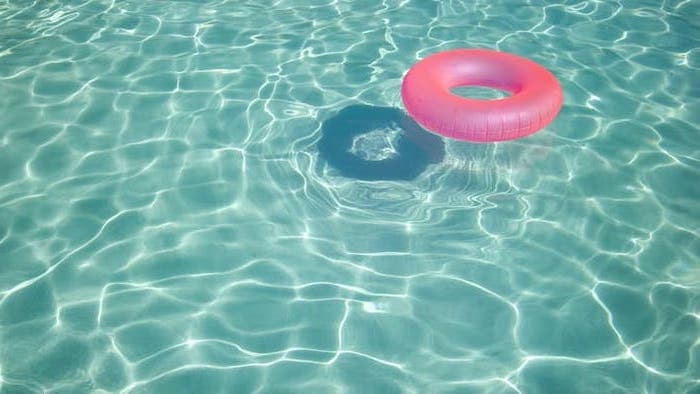 cute wallpapers for girls, pink inflatable chair, in a pool