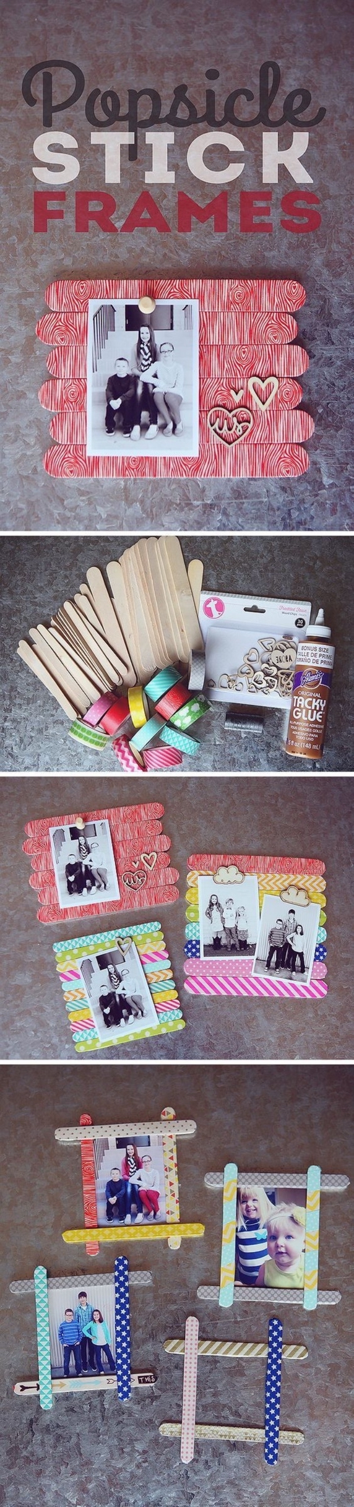 popsicle stick frames, different photos, language activities for preschoolers, colourful wooden sticks
