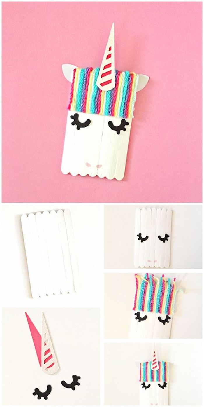 unicorn made with popsicle sticks, language activities for preschoolers, colourful strands, diy tutorial