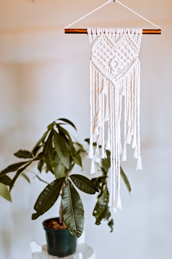 potted plant, macrame for beginners, white wall, white metal table