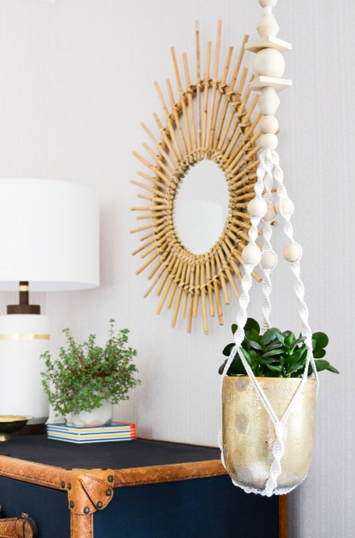 round mirror, wooden frame, metal pot, plant hanger, macrame for beginners, potted succulent