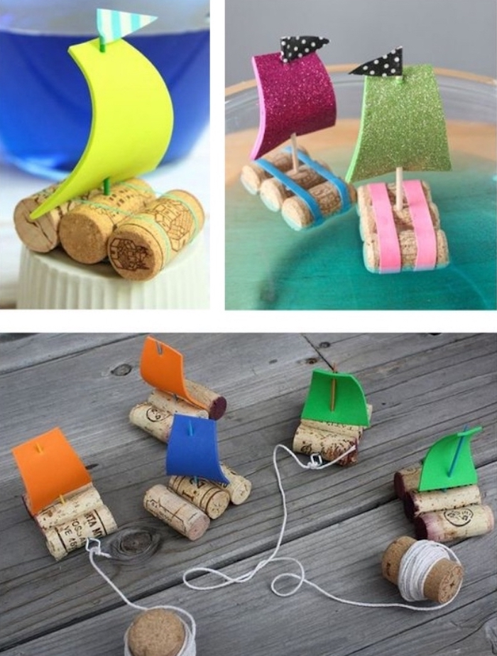 small boats, made of corks, language activities for preschoolers, glitter felt, diy tutorial