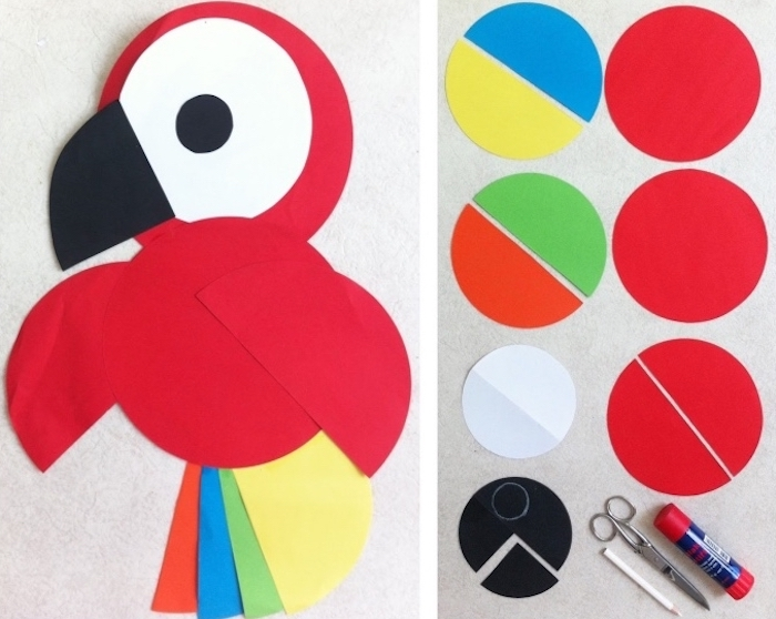colourful parrot, made of paper, language activities for preschoolers, step by step, diy tutorial