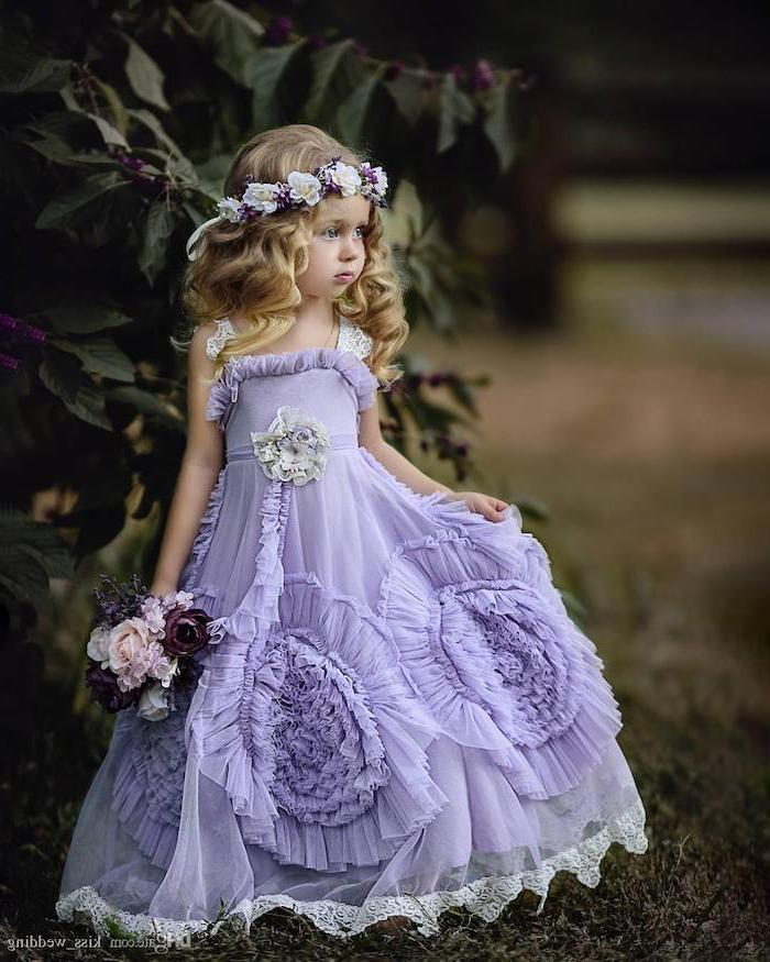 purple tule dress, blonde wavy hair, cute dresses for girls, flower crown, flower bouquet