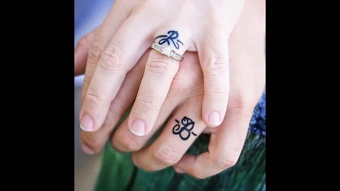 r and b initials, gold engagement, ring, couple tattoos quotes, finger tattoos