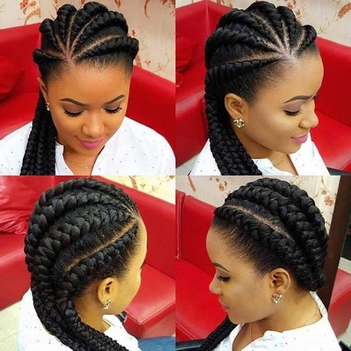 side by side photos, side braids with weave, girl with black hair, sitting on a red leather sofa