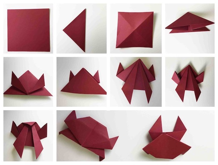 crab shaped, red napkin, step by step, diy tutorial, how to fold dinner napkins