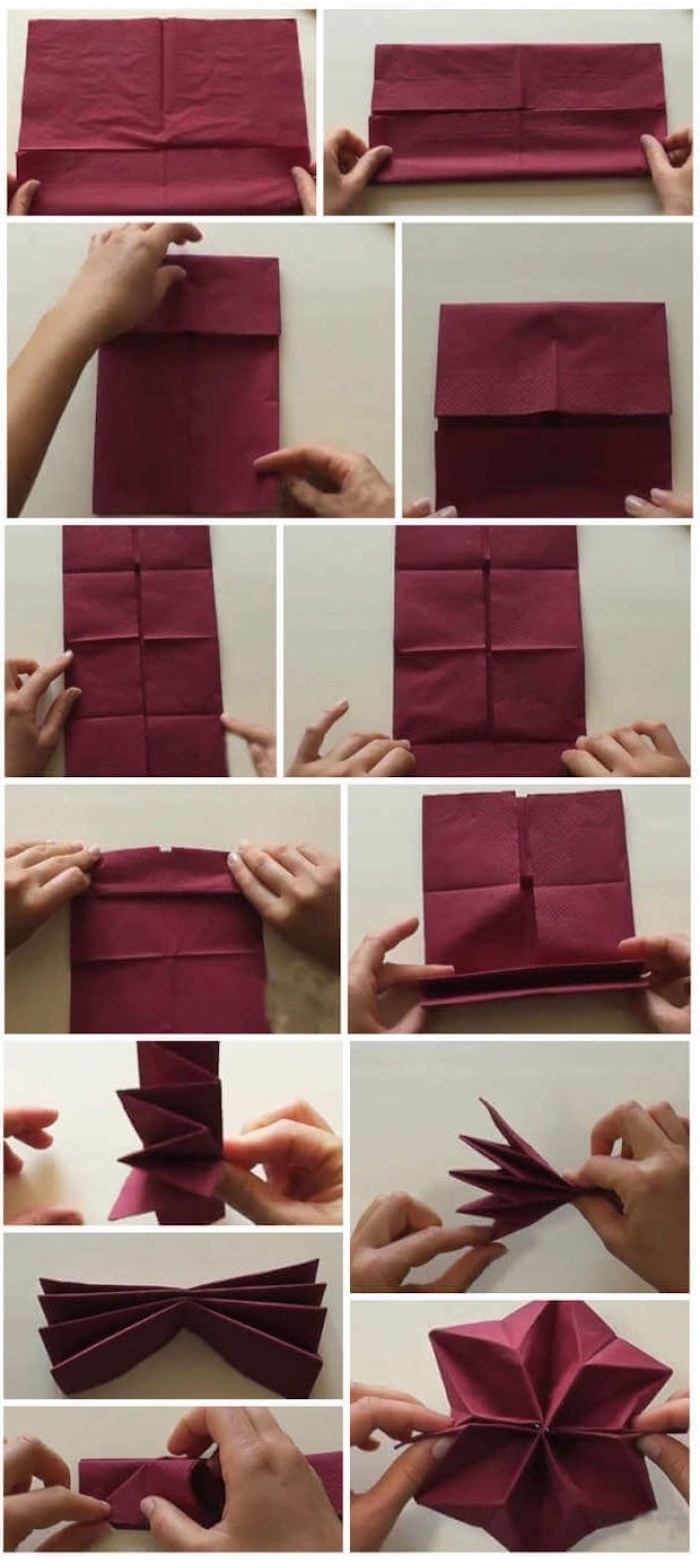 how to fold napkins fancy, step by step, diy tutorial, red napkin, in the shape of a star