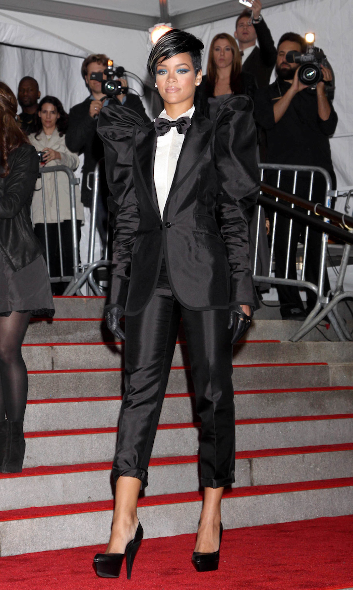 what is the met gala, rihanna wearing a tuxedo, with black high heels, short black hair